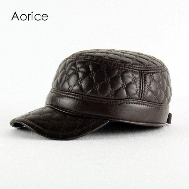 HL084-B натуральная кожа мужчины бейсболка, шляпка CBD высокое качество мужская настоящее овцы кожа взрослых твердые армии шляпы, шапки