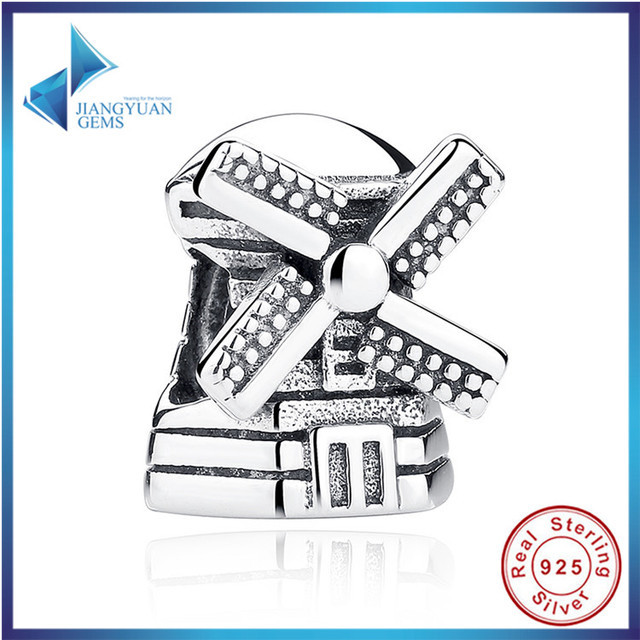 2016 Nova Moda Real 925 Sterling Silver Windmill Pingentes Encantos fit Colar Pulseiras de Noivado Acessórios Frete Grátis