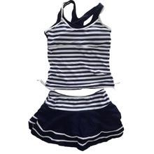 Sporty Style Navy Stripes Two Pieces Dress Tankini