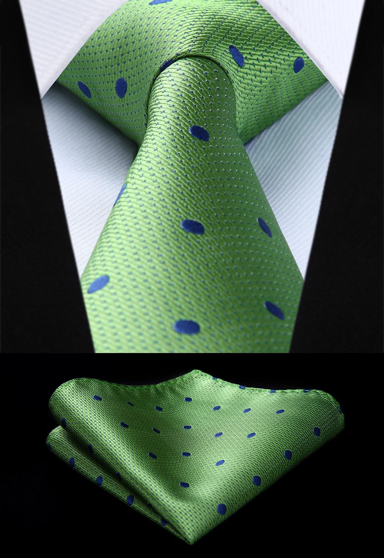 Woven Classic Tie Necktie  Men Green Polka Dot 3.4