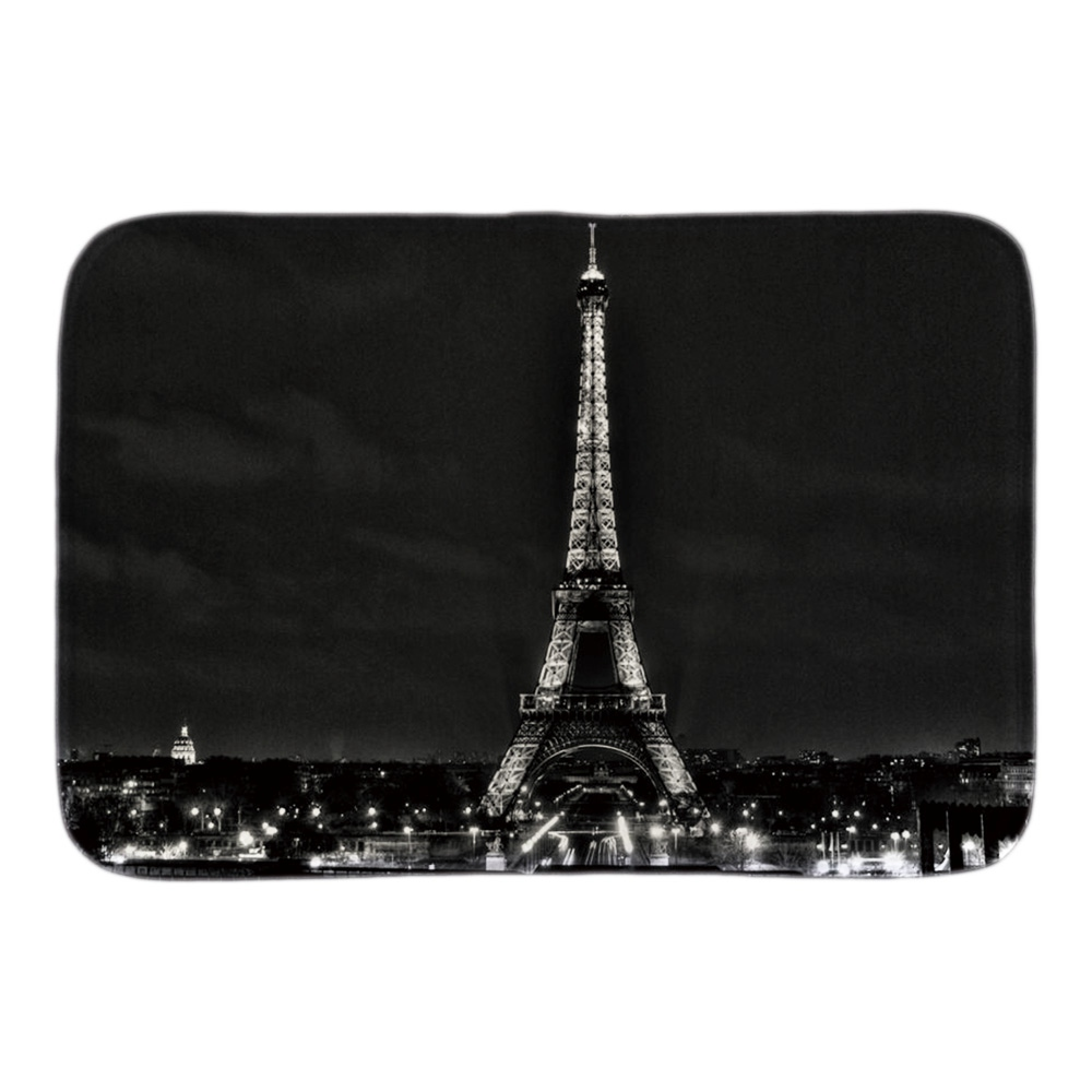 Home Decor Doormats Black White Eiffel Tower Soft Lightness Mat Indoor Outdoor Bathroom  ...