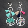 New Arrival Tassel Bohemia Key chain Owl Leaf Turquoise Tree of Life Pendant Key ring for Women and Men