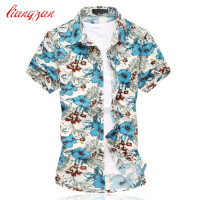 Men Korean Shirts Brand Summer Short Sleeve Plus Size 5XL 6XL Social Mercerized Cotton Dress Shirts Camisetas Masculinas F2194