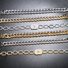 17cm Men's Hip Hop Bling Bling Iced Out Miami cuban Chain luxury brand silver gold Bracelets For Men Women Wholesale Jewelry(China)