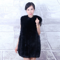 Winter female fur vest leather pure fox fur car in the long vest