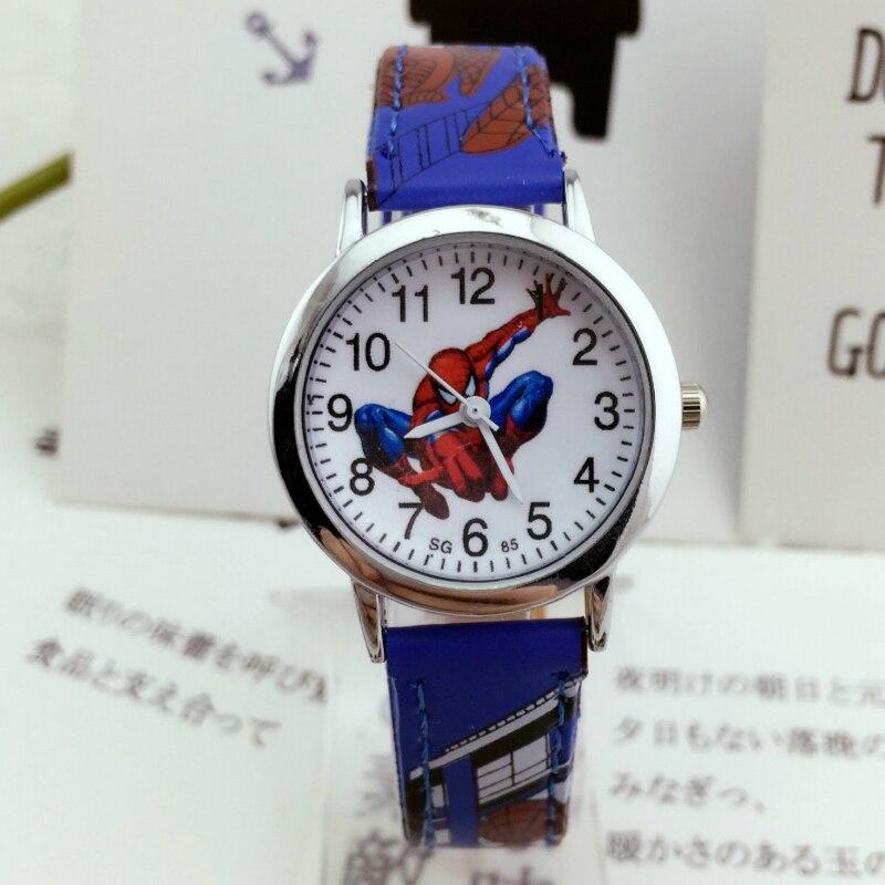 2019 Hot Sale Cartoon Spiderman Children Watch Kids Watches Leather Quartz Wristwatch Child Hour Girl Boy Kid Clock Watch Gift