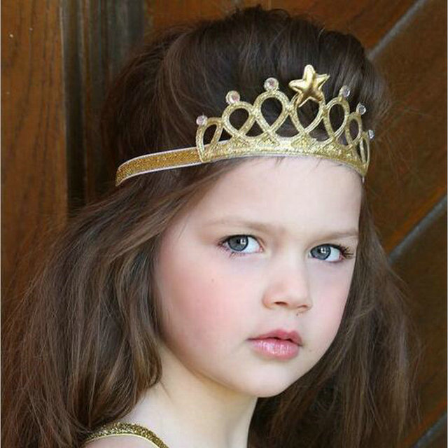 2017 Fashion Baby girls Princess Headbands Cute children Crown Hairband  lovely Gold silver Infant kids headwear Accessories D4 a49ab0231af5