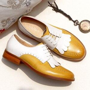 Image 5 - Yinzo zapatos planos de piel auténtica para mujer, zapatillas femeninas de estilo Oxford, en color amarillo, informales, Estilo Vintage, 2020