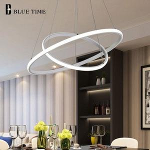 Image 2 - Creative מודרני בית LED עבור סלון חדר שינה אוכל חדר לבן & שחור & זהב & קפה מעגל מסגרת LED נברשות AC 110V 220V