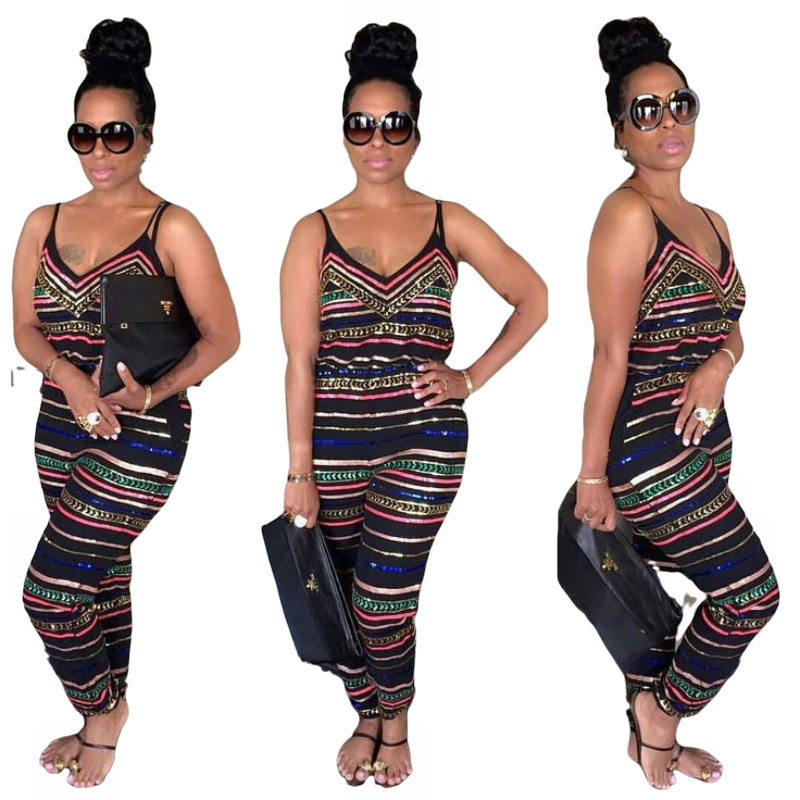 2020 women summer chain stripe print spaghetti strap v-neck sleeveless pencil long jumpsuit fashion vintage jumpsuit romper