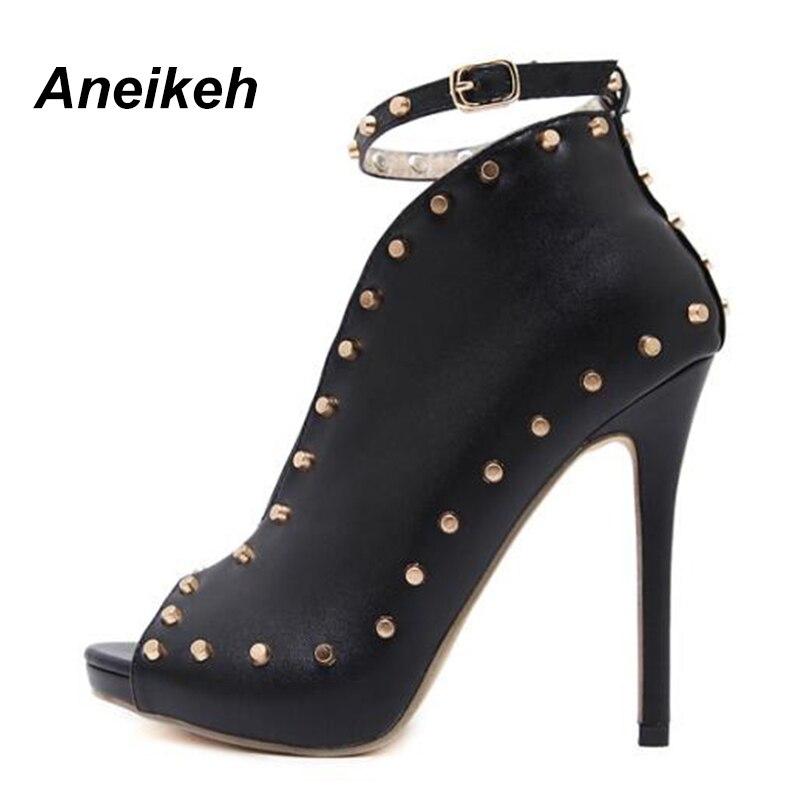 новая осенняя женская обувь 2018 замок с открытым большим пальцем женские туфли на высоком bloke батальона заклёпки мотоботы с пряжкой туфли-Li aneikeh