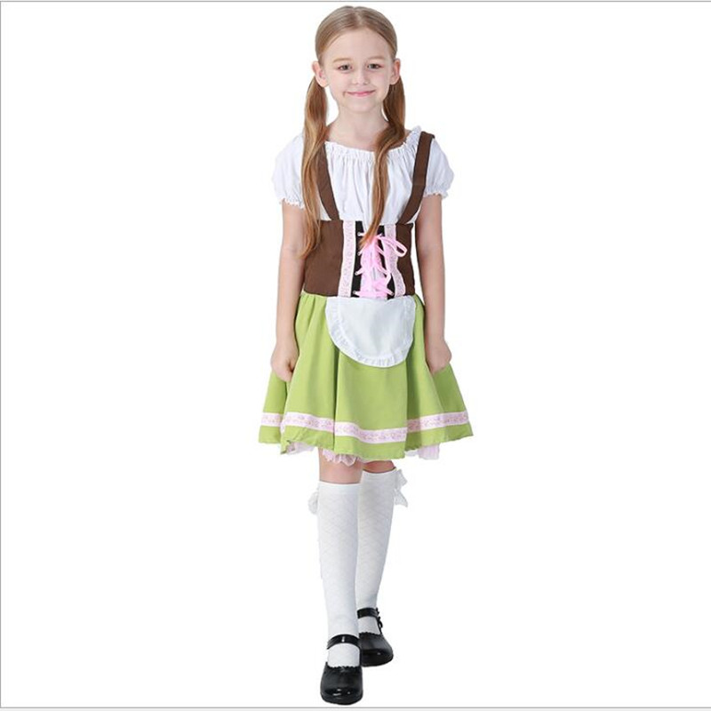 Cute Children Maid Costume Oktoberfest Party German Beer Girl Cosplay Fancy Halloween Party Costume Dress S-XL