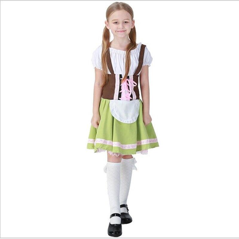 Cute Children Maid Costume Oktoberfest Party German Beer Girl Cosplay Fancy Halloween Party Costume Dress S-XL