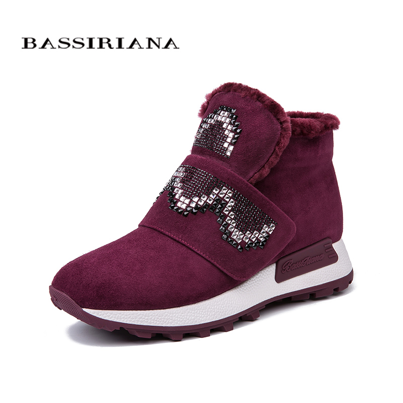 BASSIRIANA genuine suede leather ankle boots winter new flats shoes for women russian sizes 35 40