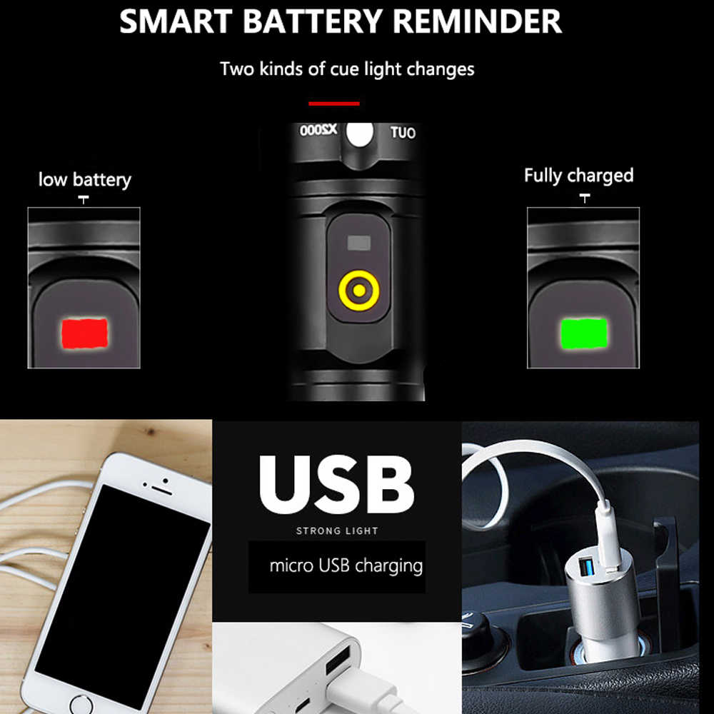 80000LM החזק ביותר LED פנס XHP50.2 USB נטענת לפיד XHP50 USB זום פנס ציד מנורת עצמי הגנה 18650