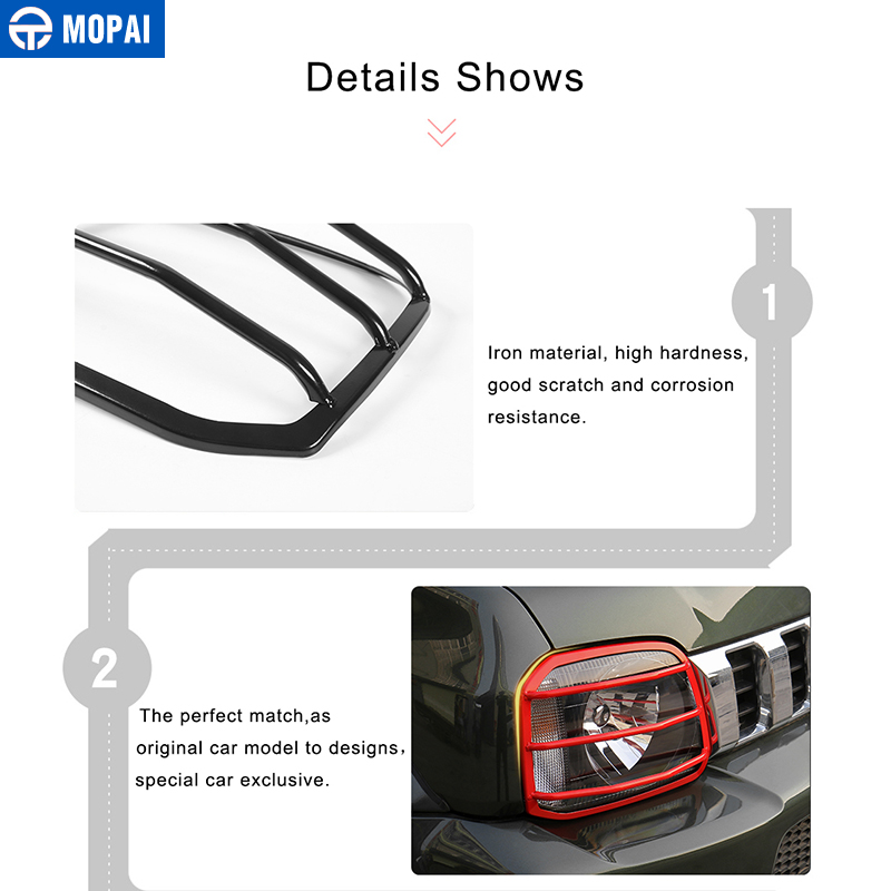 Image 4 - MOPAI Car Lamp Hoods for Suzuki jimny 2007 Up Metal Car Headlight Head Light Lamp Cover Stickers for Suzuki jimny Accessories-in Lamp Hoods from Automobiles & Motorcycles