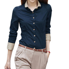 5XL Patchwork Long Sleeve Shirts Women Blouse Autumn Lapel O