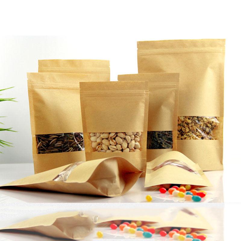 10pcs / lot Zip Lock Tašky Svatební Candy balení Recyklovatelné potraviny Chléb Nákupní Party pro Boutique Brown Kraft papírové dárkové tašky