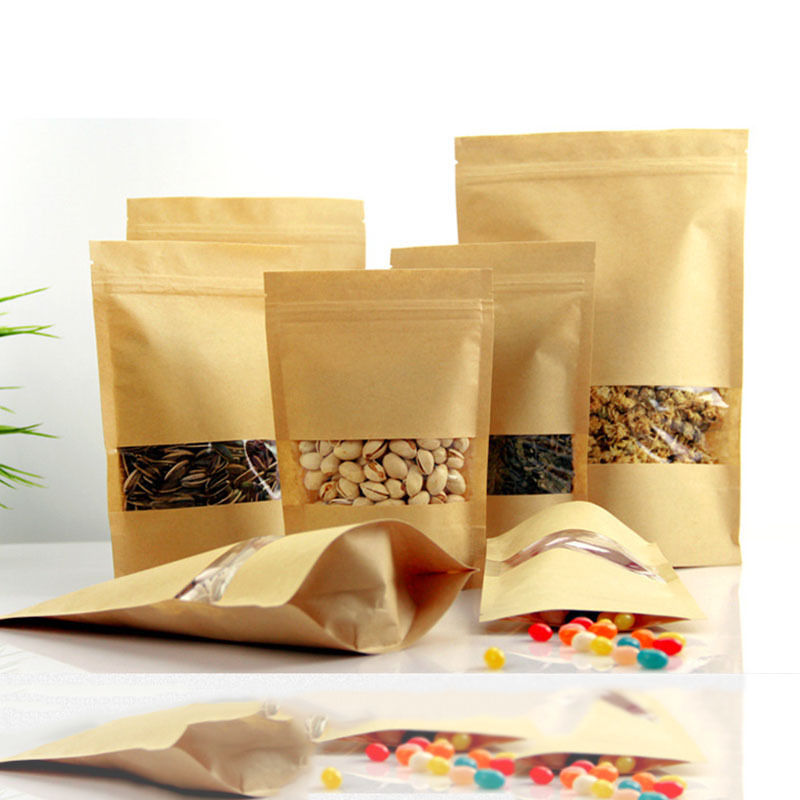 10pcs/lot Zip Lock Bags Wedding Candy Packaging Recyclable Food Bread Shopping Party For Boutique Brown Kraft Paper Gift Bags
