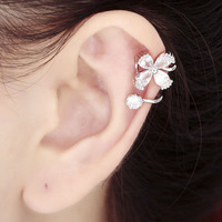 925 Sterling Silver Flower Ear Cuff Cartilage Wrap Earring Gold Silver Non Piercing Women Cz Earring