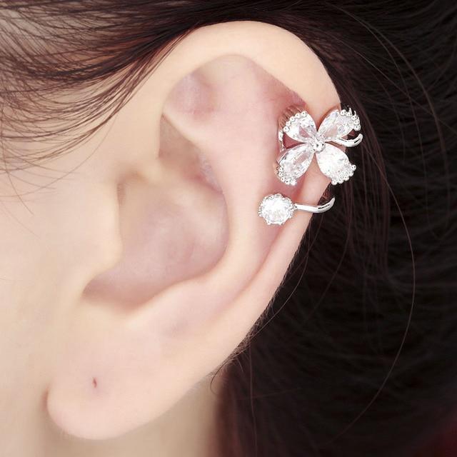 925 Sterling Silver Flower Ear Cuff Cartilage Wrap Earring Gold Non Piercing Women Cz