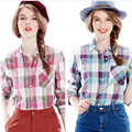 Korean Style 2017 Fashion Cotton Button Stand Collar Plaid Shirt Female Pluse Size Women Clothing S to XL