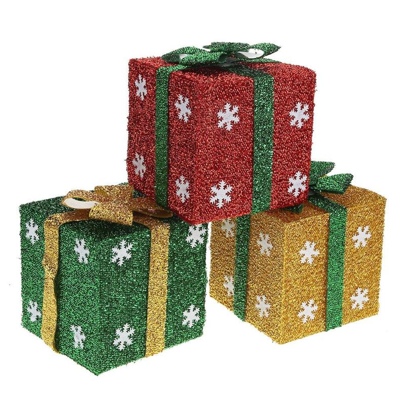 New Christmas Decoration Supply 3D Square Gift Box For Home Market Window Orname