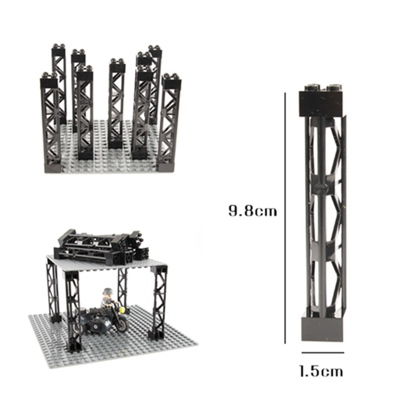 MOC City Parts Building Blocks Train Car Pillar Support Girder Column Beam Military Bricks DIY Toys Compatible Tower C017