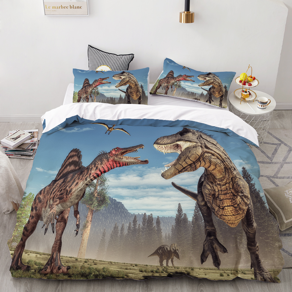 3D Printing Bedding Set,Custom Kids Baby Children Duvet Cover Set,Cartoon Dinosaurs In Jurassic Park Bedclothes Drop Shipping