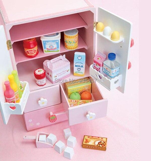 Nuevo juguete de madera blanco fresa de doble puerta refrigerador ...