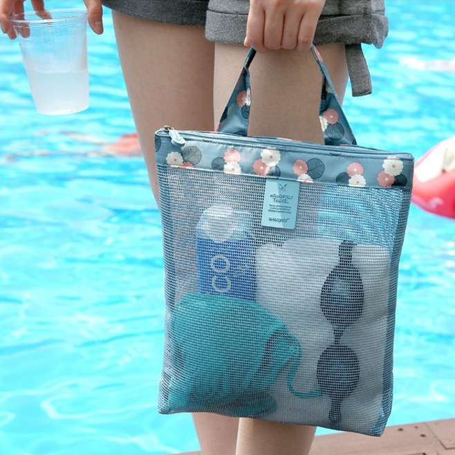 Large Capacity Mesh Transparent Beach Bag Women Shoulder Bag Printing Fashion Tote Bags Travel Organizer Bag Multifunctional Bag