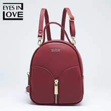 db38e9e71a Eyes In Love small Leather backpack female new design women school backpack  for Girls fashion zipper