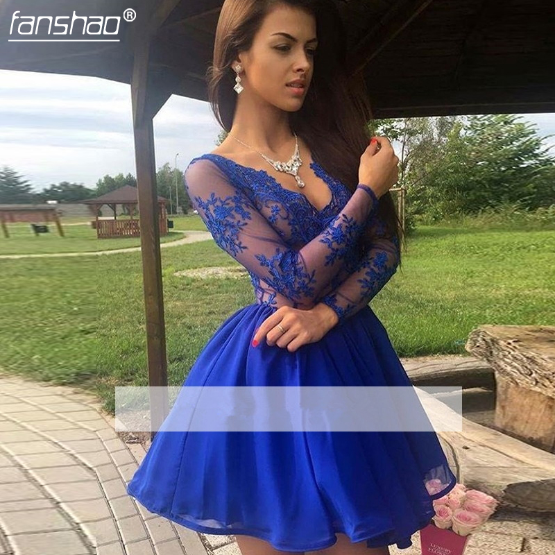 Royal Blue 2019 Elegant Homecoming Dresses  A-line V-neck Long Sleeves Tulle Lace Party Plus Size Cocktail Dresses
