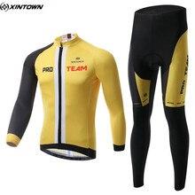 XINTOWN Winter Men Long Cycling Jersey Set Yellow Mtb Sportswear Riding Cycling Clothing Roupa Ciclismo CC0321