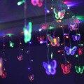 4 рождественских светодиодных светильника AC 220V романтическая сказочная звезда светодиодная бабочка Гирлянда освещение для праздника Свад...