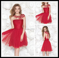 Vestidos de Festas 2016 free shipping Curto Formal Party Dresses Red Tulle Scoop Crystals A Line Short Cocktail Dress