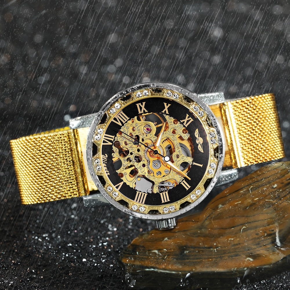 WINNER Official Skeleton Mechanical Watch Men Golden Mesh Strap Crystal Iced Out Mens Watches Top Brand Luxury Analog Wristwatch