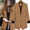 Rebantwa Spring Autumn Patchwork Long Blazer Women Camel Notched Collar Blazer Feminino Causal Loose Suit Blazers Long sleeve XL