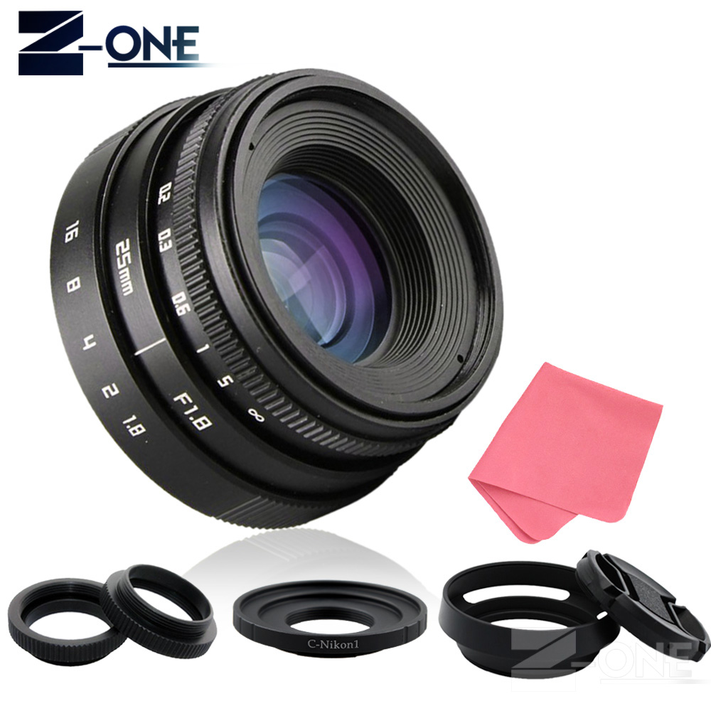 25mm F1.8 APS-C Television TV Lens CCTV Lens C mount + Lens hood for Nikon 1 mirrorless Camera AW1 S2 J4 J3 J2 J1 V3 V2 V1 C-NI
