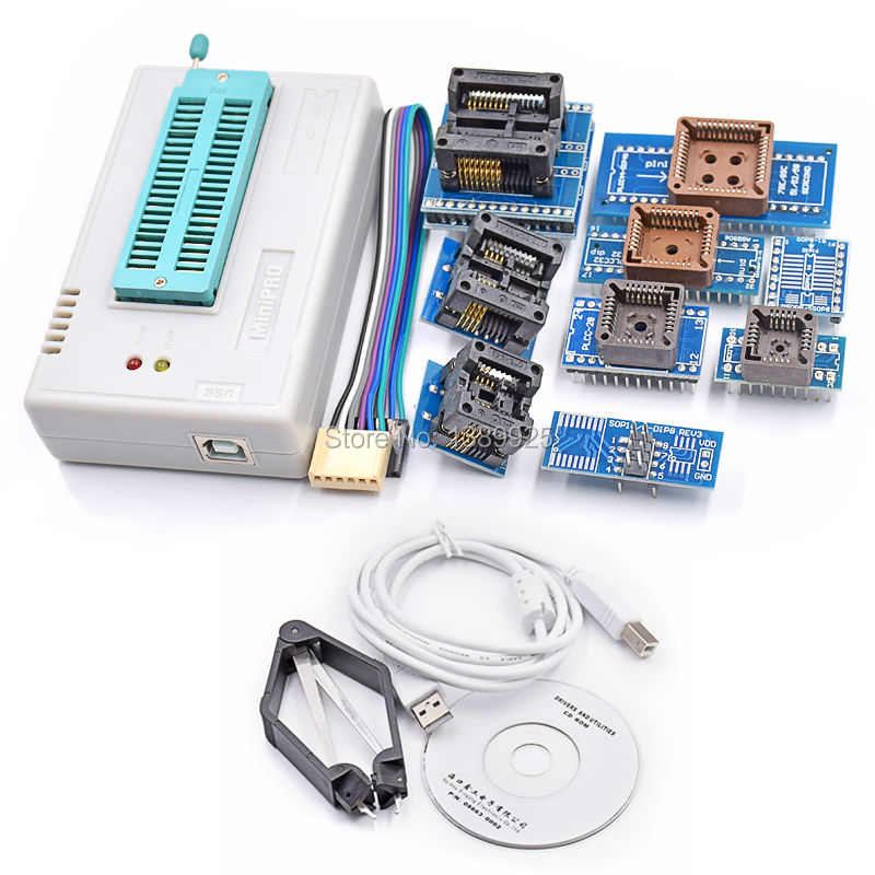 100% Originele 2018 NIEUWE mini pro TL866II PLUS usb programmeur 9 items IC Adapters