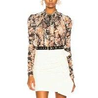 Cosmicchic взлетно посадочной полосы для женщин дизайнерская рубашка с длинным рукавом лук воротник рубашка с оборками свободные шелковая блуз