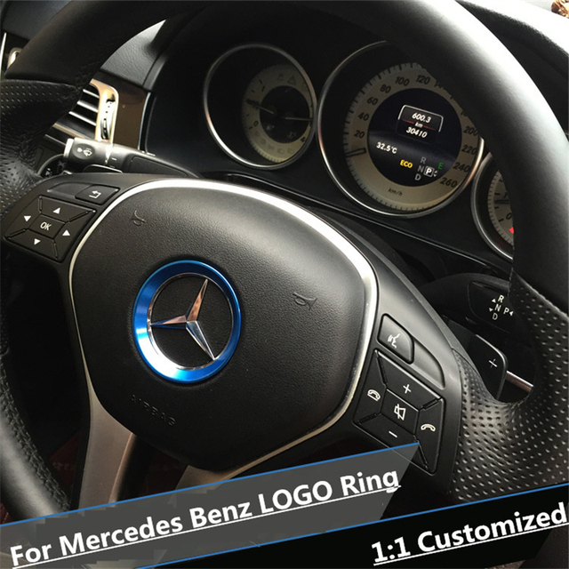 red interior accessories steering wheel logo cover trim ring for mercedes benz new b c e class a. Black Bedroom Furniture Sets. Home Design Ideas