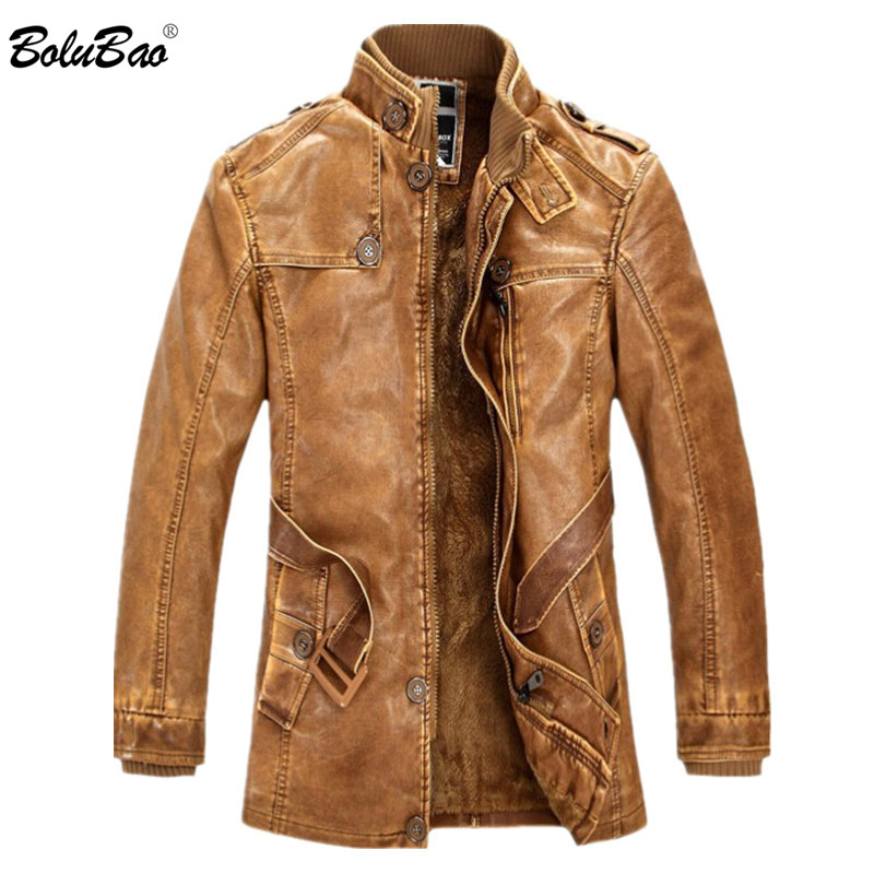 BOLUBAO Men Thicken Leather Suede Jackets Men Fleece Lined Stand Collar Long Coats Motorcycle Casual Slim Male Leather Jacket