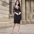 2017 Brand New Women Black Bodycon Bandage Party Robe Ladies Celeb Peplum Sexy Hollow Out Lace Dress Plus Size