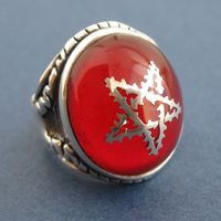 Hyde pentacle goat horn ring red