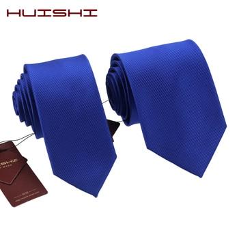 HUISHI Fashion Royal Blue Neck Mens Tie For Men Jacquard Plaid Stripe Plain 6cm Width And Normal 8cm Solid color Neckties цена 2017