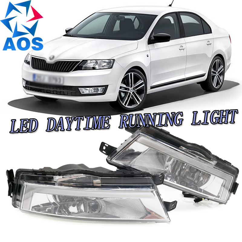 2PCs/set car styling AUTO LED DRL Daylight Car Daytime Running light set For Skoda Rapid 2013 2014 2015 1:1 replacement multicolored led auto wheels light 2 set