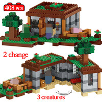 408pcs The First Night Adventure Shelter Model Building Blocks LegoINGly Minecrafted Village Eductional Bricks Toys for Children