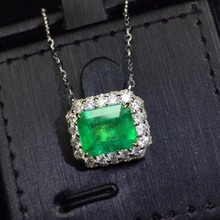AIGS Fine Jewelry Certificate Real 18K White Gold AU750 Natural Green Emerald 2.28ct Gemstones Pendants for Women Necklace