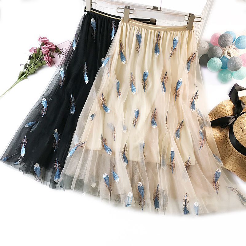 Wasteheart White Pink Women Skirts High Waist Ball Gown Feather Embroidery Ankle Length Skirt Chiffon Clothing Plus Size